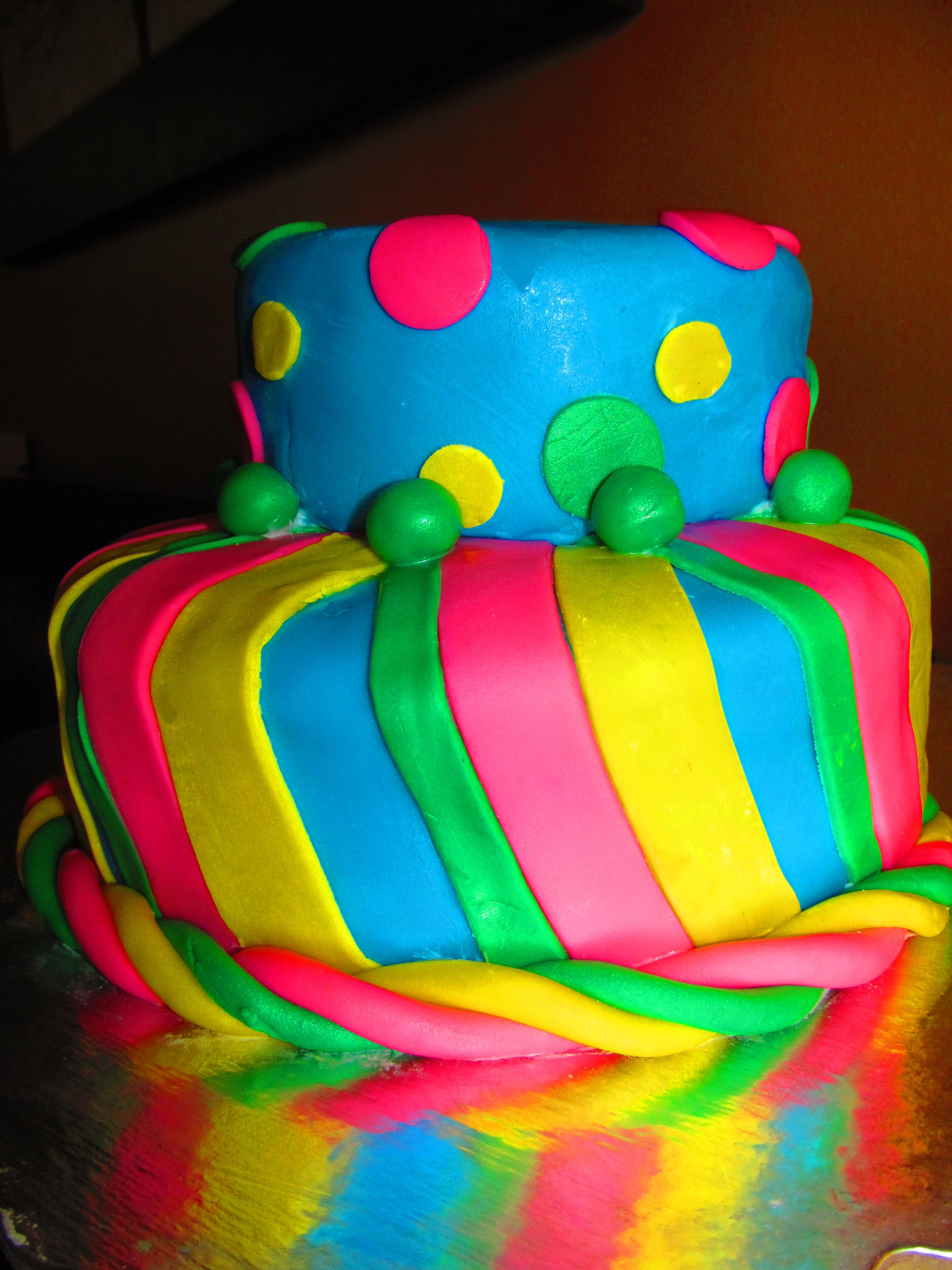Colorful polka dots and stripes birthday cake I made for a