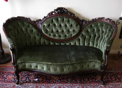1860s Victorian Rococo Revival Settee Loveseat Carved Walnut Grapes Green  Velvet