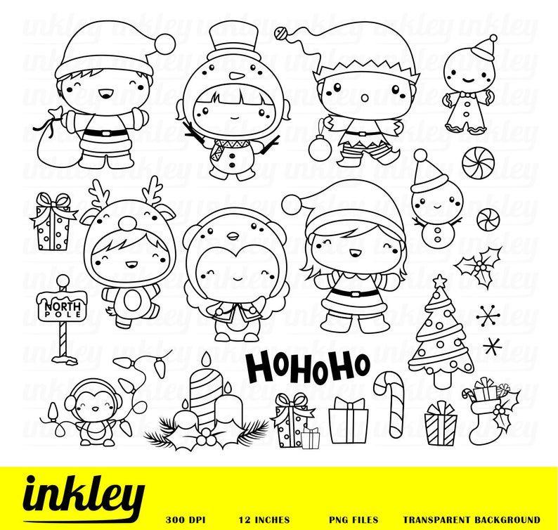 Cute Christmas Costume Clipart Holiday Season Clip Art Etsy In 2021 Christmas Clipart Clip Art Digi Stamps