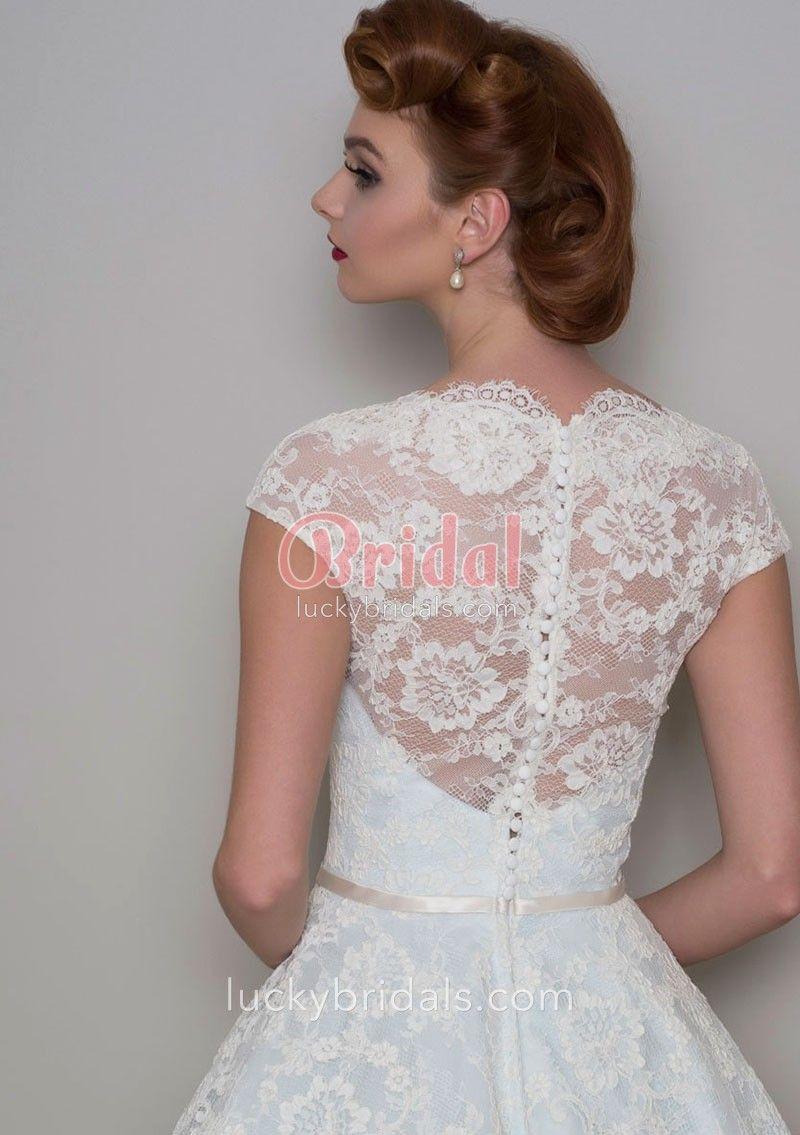 Cute u retro tea length pale blue bridal gown with cap sleeve lace