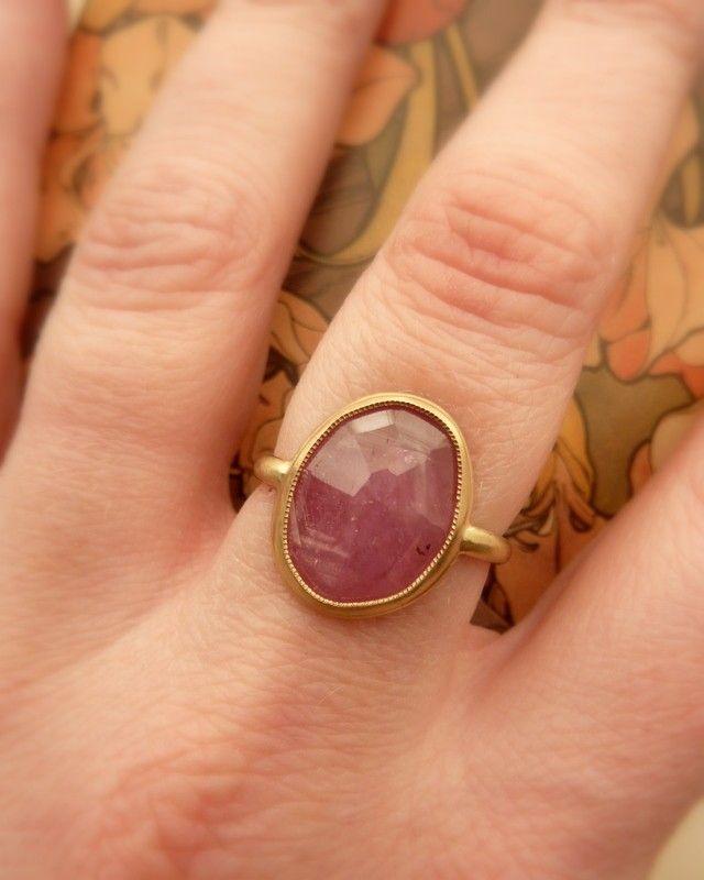 Pink Rose Cut Sapphire Ring - Large. $695,00, via Etsy.