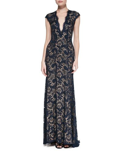 T8TA8 Jovani Plunge-Neck Beaded Lace Gown