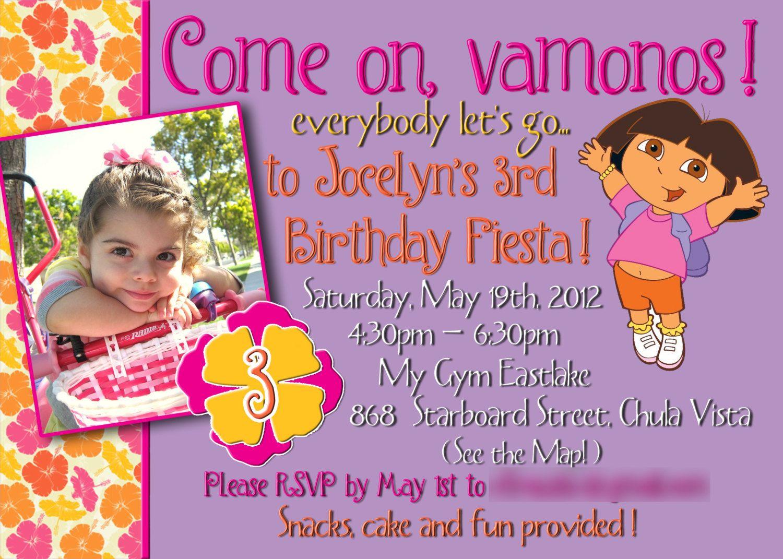 Dora - Girl Birthday Invite - 5x7 Printable File. $12.00, via Etsy ...