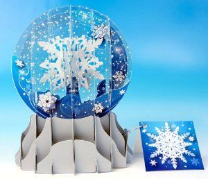Christmas Greeting Card Pop-up 3-d Snow Globe Snowfall by Up With ...