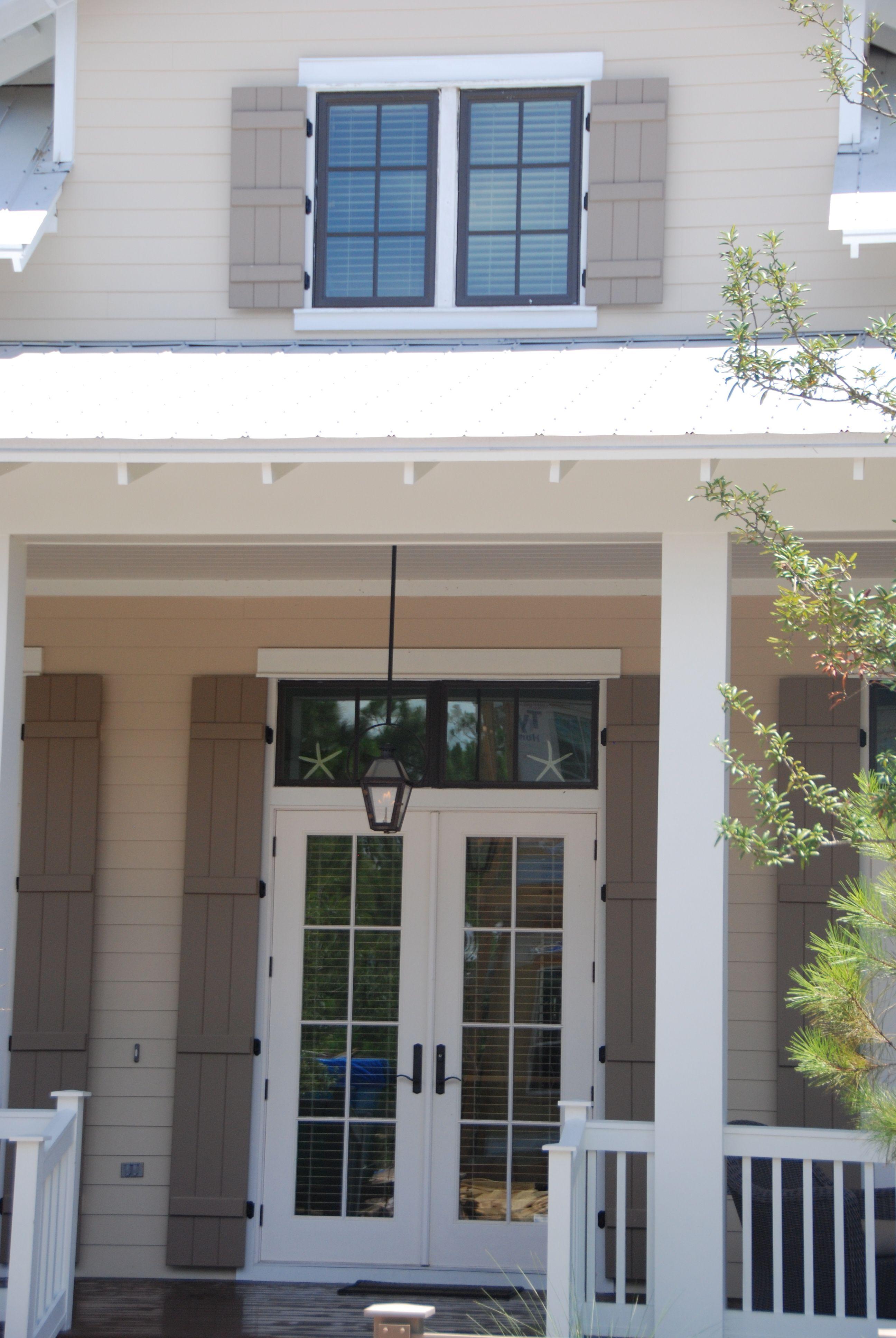 Dark Bronze Window Panes Factory Painted White Doors
