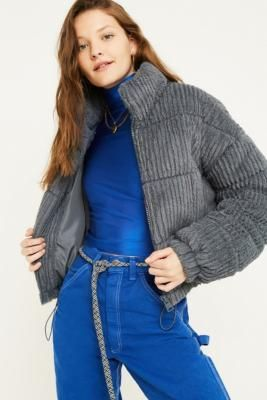 UO Charcoal Fluffy Corduroy Puffer Jacket in 2020 (With ...