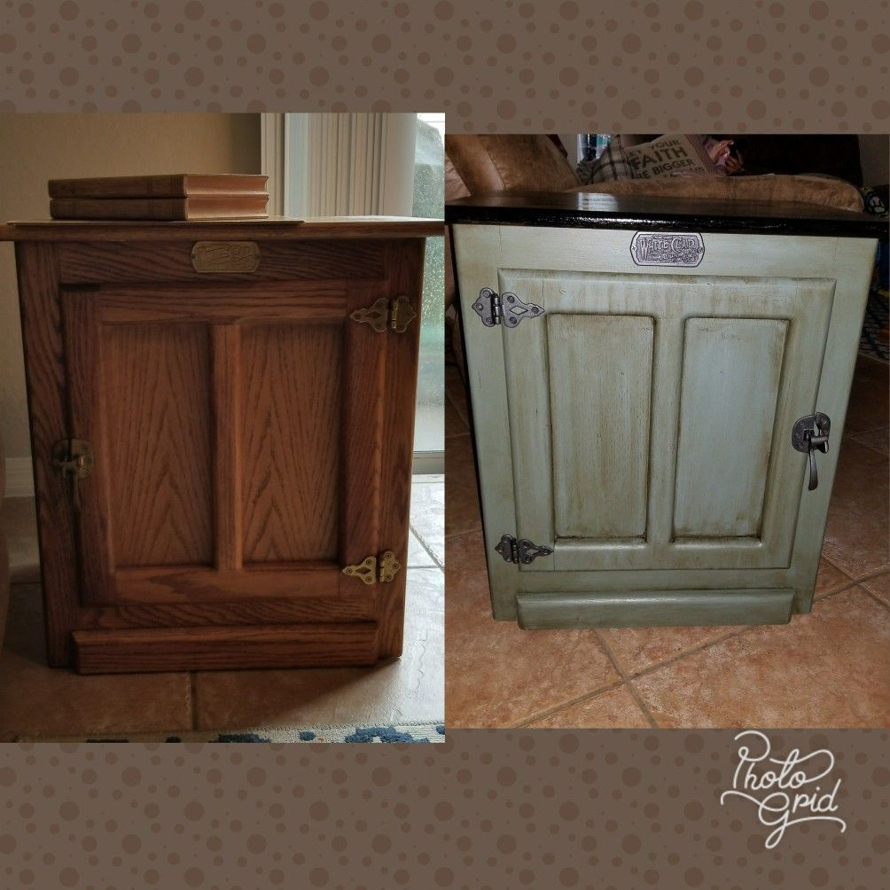 White Clad Ice Box End Table Makeover Furniture Upcylcing Rustic