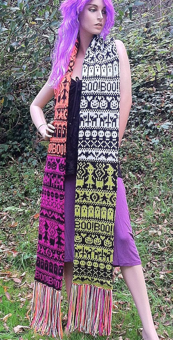 Free Knitting Pattern For Halloween Fair Isle Scarf This Floor