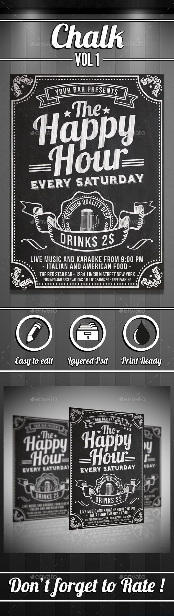 Happy Hour Chalkboard Flyer | Kreidetafel und Deko