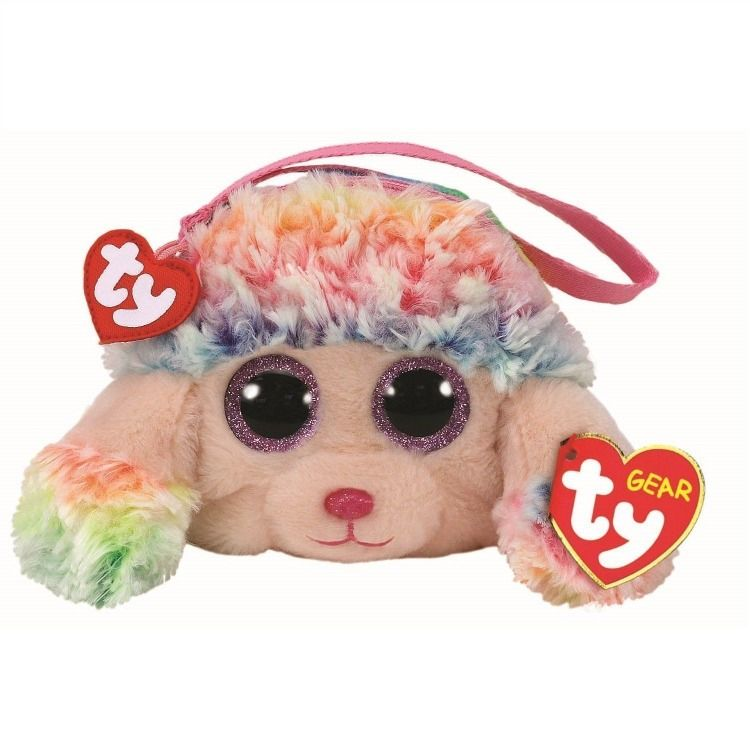 Original Ty With Tags Ty RAINBOW the POODLE Plush Zipped Wristlet Coin Purse