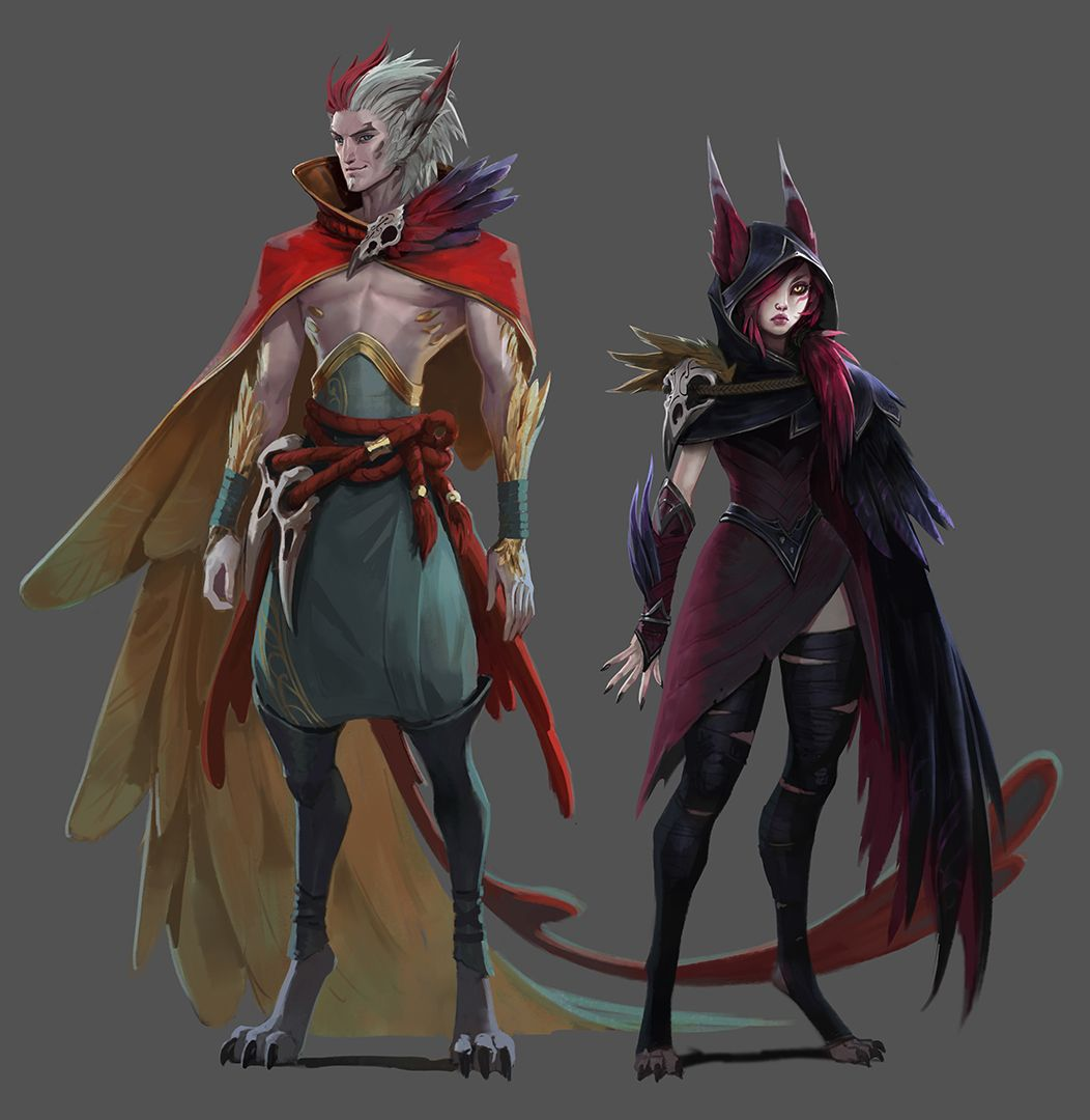 Xayah Character Design : Xayah and rakan art of league legends pinterest