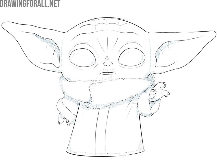 How To Draw Baby Yoda The Child Yoda Drawing Baby Drawing