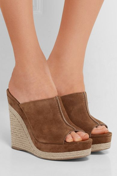 Wedge heel measures approximately 120mm/ 5 inches with a 35mm/ 1.5 inches platform Tan suede Slip on As seen in THE EDIT magazine