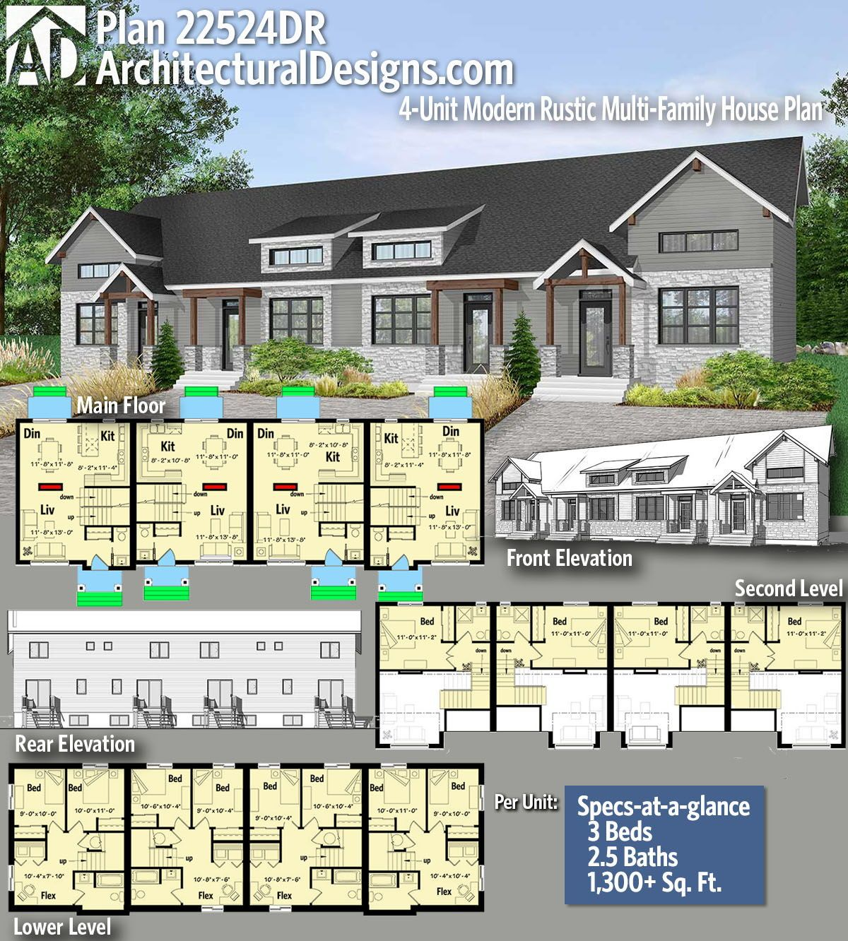 Plan 22524dr 4 Unit Modern Rustic Multi Family House Plan Family House Plans House Plans Rustic House Plans