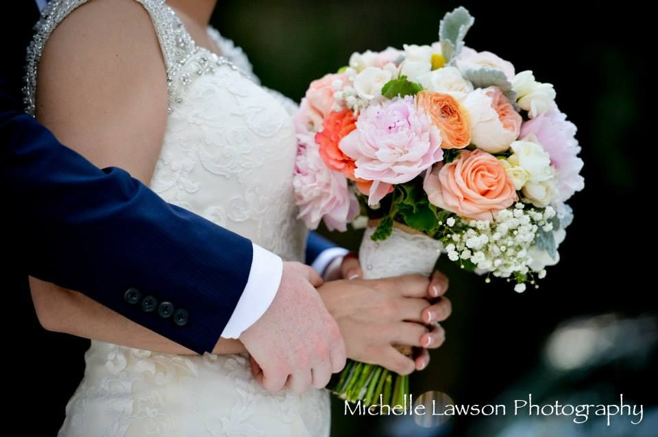 Brides's Bouquet made with Hydrangea, rose, peony and baby's breath flower at Key Largo Lighthouse Beach Wedding Venue in the Florida Keys