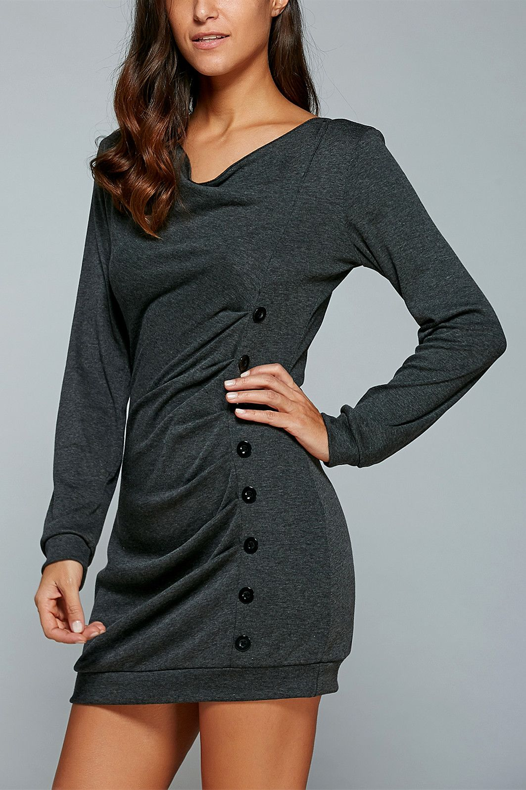 $14.11   Single-Breasted Long Sleeve Ruched Dress