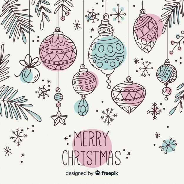 Téléchargez Collection De Boule De Noël Dessinés à La Main Coloré gratuitement
