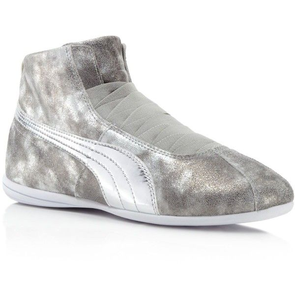 Puma Eskiva Mid Metallic Rihanna Collection Sneakers ($110) ❤ liked on Polyvore featuring shoes, sneakers, grey, grey leather shoes, lace up sneakers, leather sneakers, lacing sneakers and leather lace up shoes