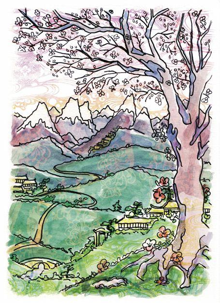 """Illustrations for children book """"El dragón de Manchuria) mixed media, ink, watercolor and digital composition."""