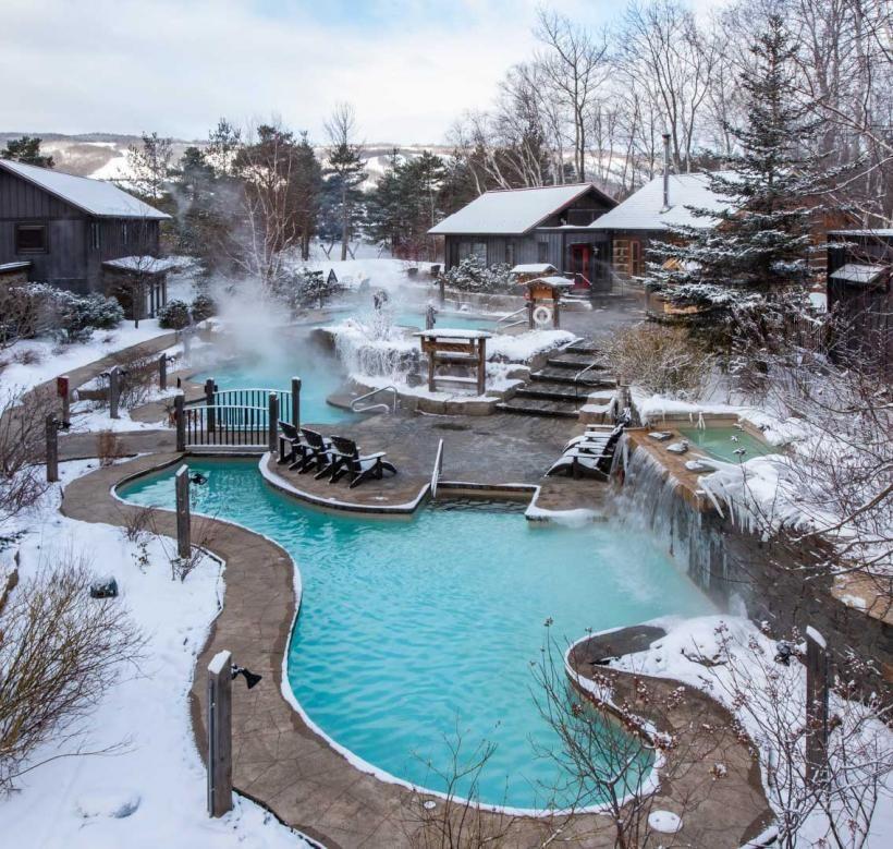 Rejuvenate At Scandinave Spa Blue Mountain Outdoor Spa Baths In 2020 Outdoor Spa Blue Mountain Outdoor