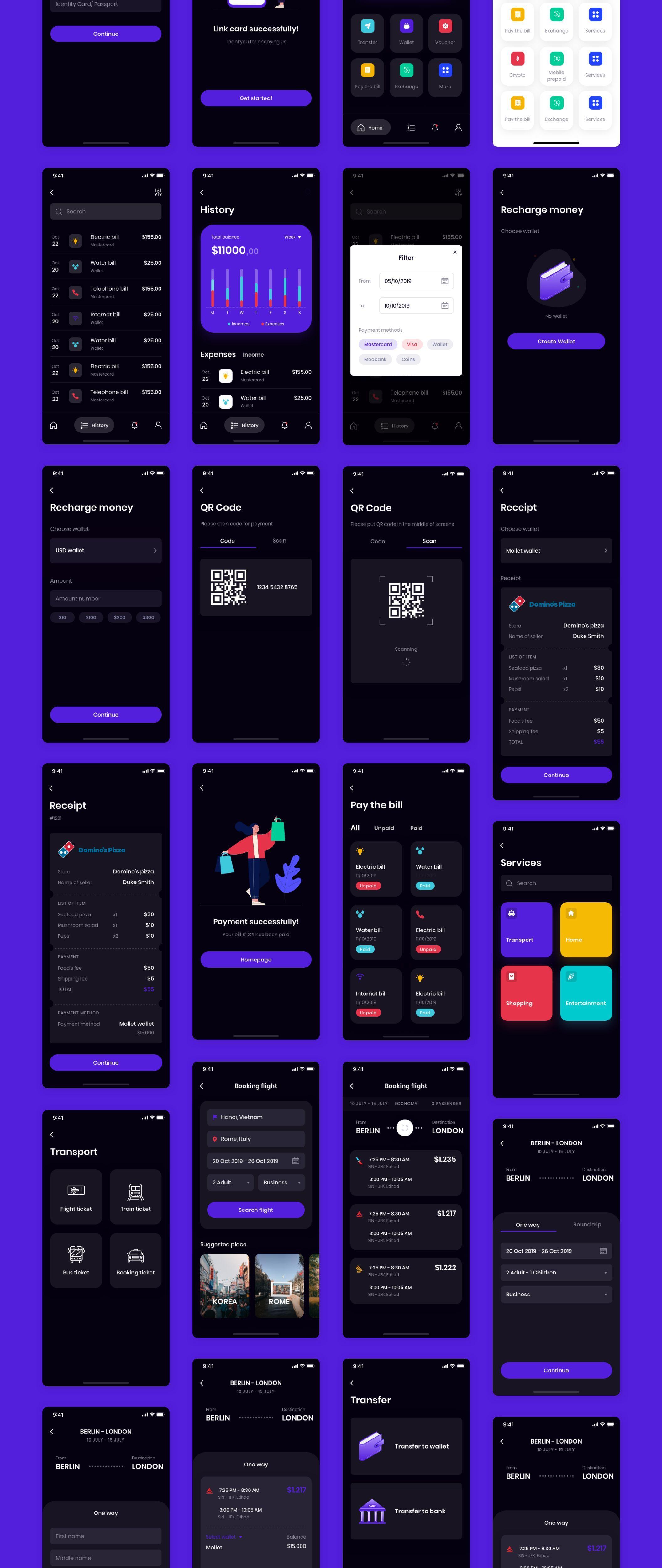 MOLLET - Wallet app UI Kit #uikit #darkmode #appdesign