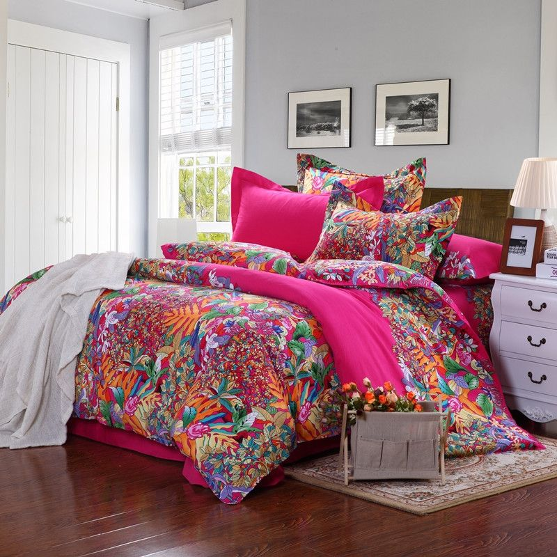 Unique Bedding Sets For Adults.Red Orange Green And Blue Tropical Hawaiian Scene Bohemian