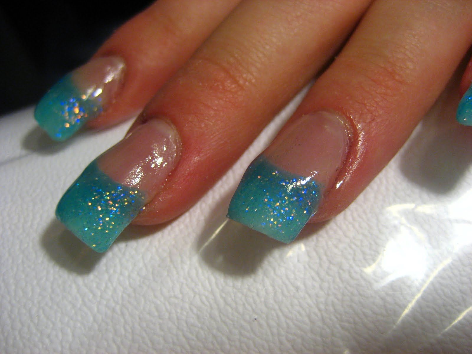 Glitter Acrylic Nail Designs | Nail design: blue glitter nails ...