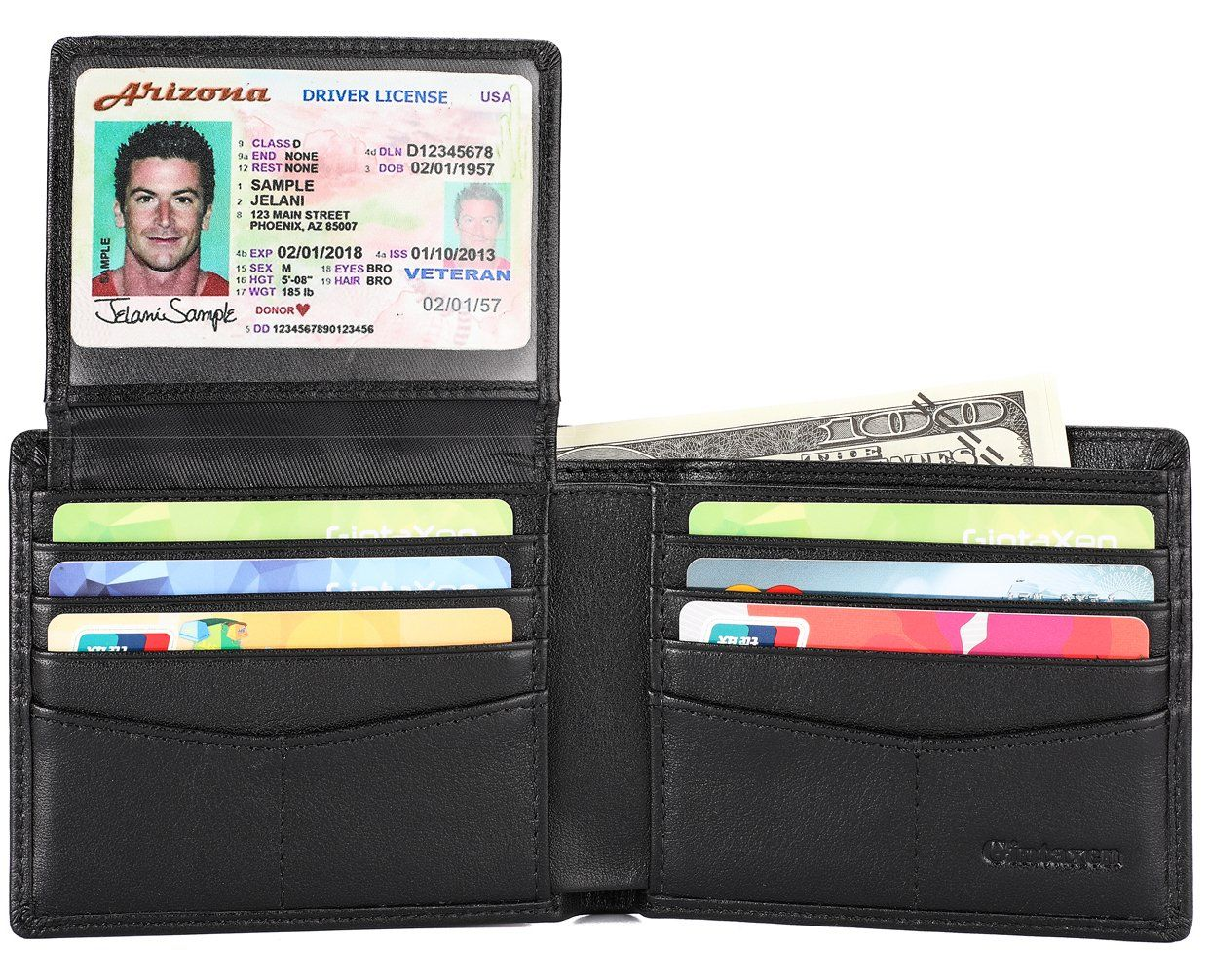 Mens Genuine Leather Bifold//Trifold 16+2 Card Slots 2 ID Windows Wallet Marshal®