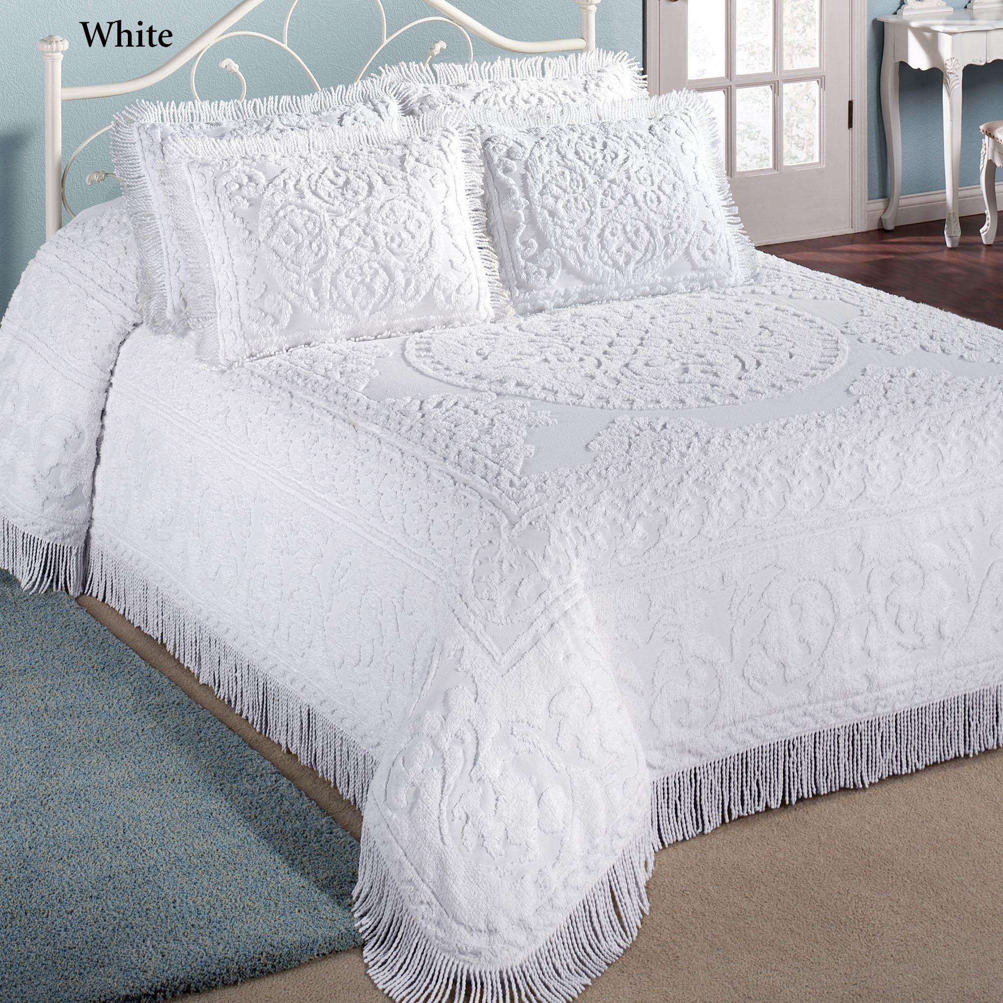 Cotton chenille medallion bedspread bedding bed spreads