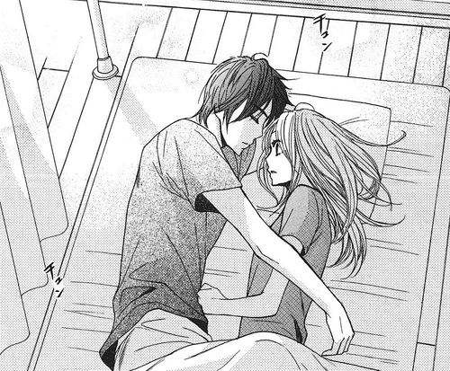 Cute anime couple trying to sleep together on a bed first time romantic relationships love emotinal adorable girl trying to keep distance from boy