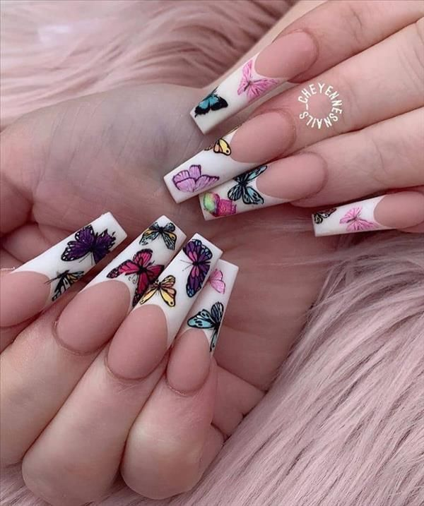27 Beautiful Butterfly Nails For Spring Acrylic Coffin ...