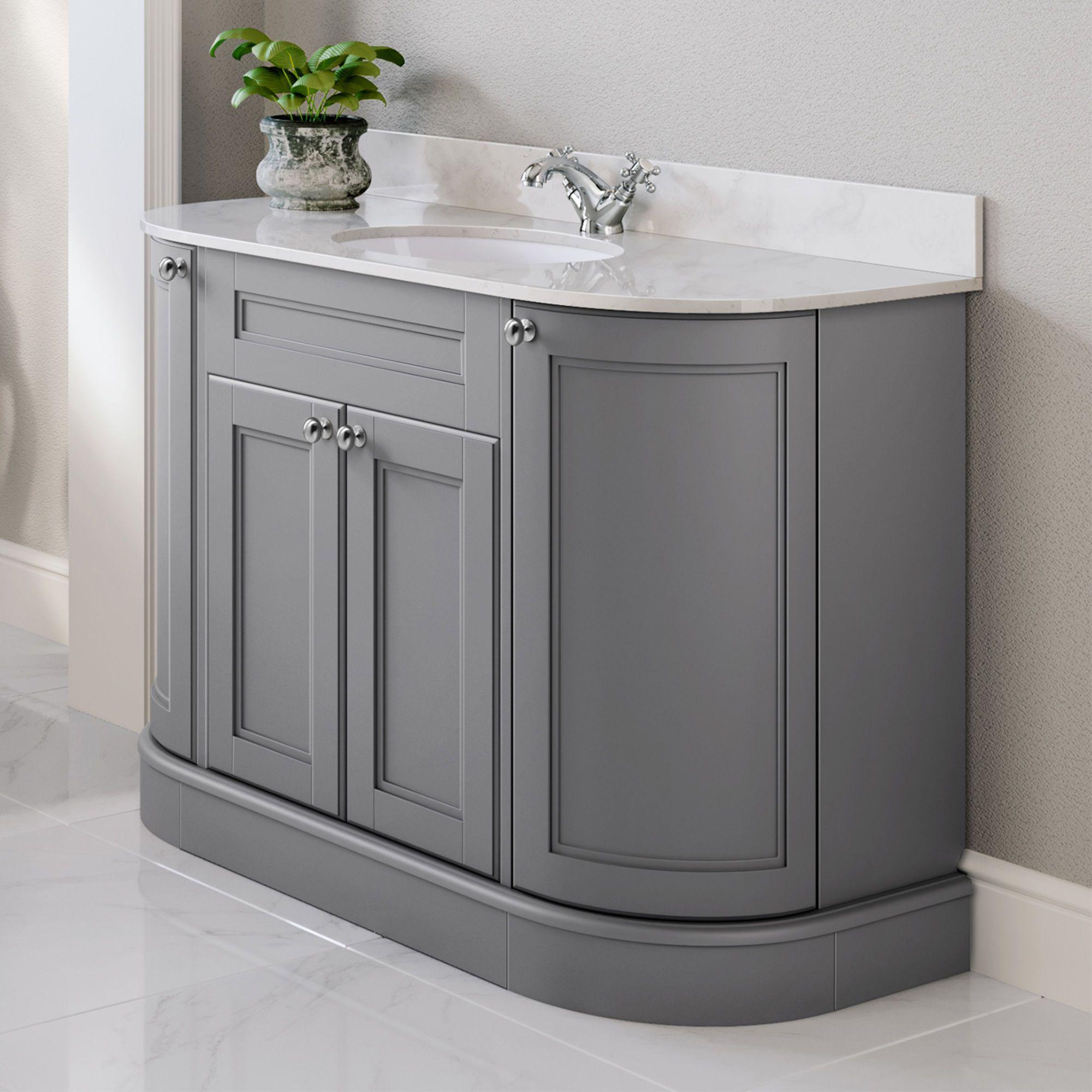 1200mm York Earl Grey Vanity Unit Grey Vanity Unit Marble