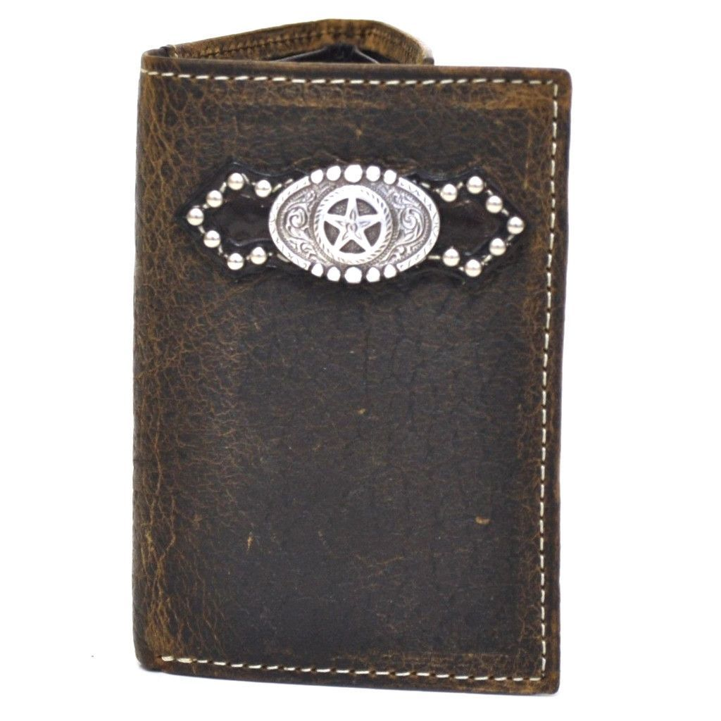 Texas Longhorn Mens Wallet Western Bifold Check Book Style W030-14  Brown camo