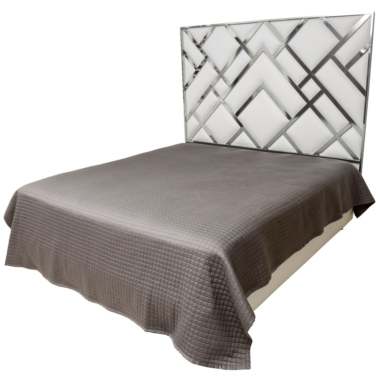 King Size D I A Headboard In Chrome And Faux Leather From A