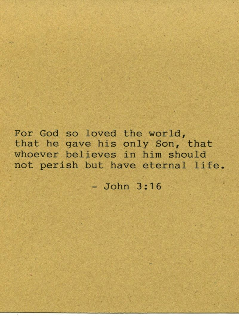 John 3:16 Bible Quote Made on Typewriter Art Quote Wall Art - For ...