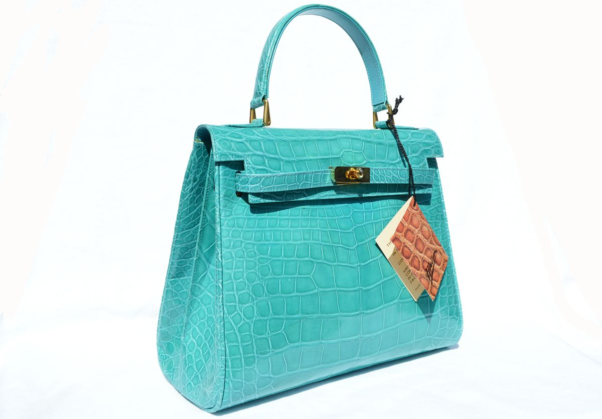 Stunning MAXIMA TURQUOISE ALLIGATOR Belly Skin BIRKIN Bag SATCHEL - HERMES - New With Tags!!