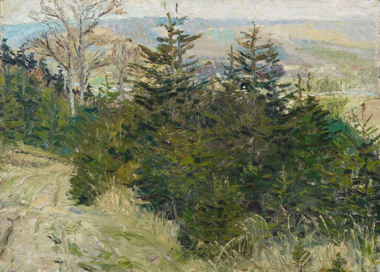 Otto Dix (German, 1891-1969), Herbstliche (Elb?)landschaft [Autumnal (Elbe?) landscape], c.1910. Oil on canvas mounted on hardboard, 41.5 x 58.5 cm.
