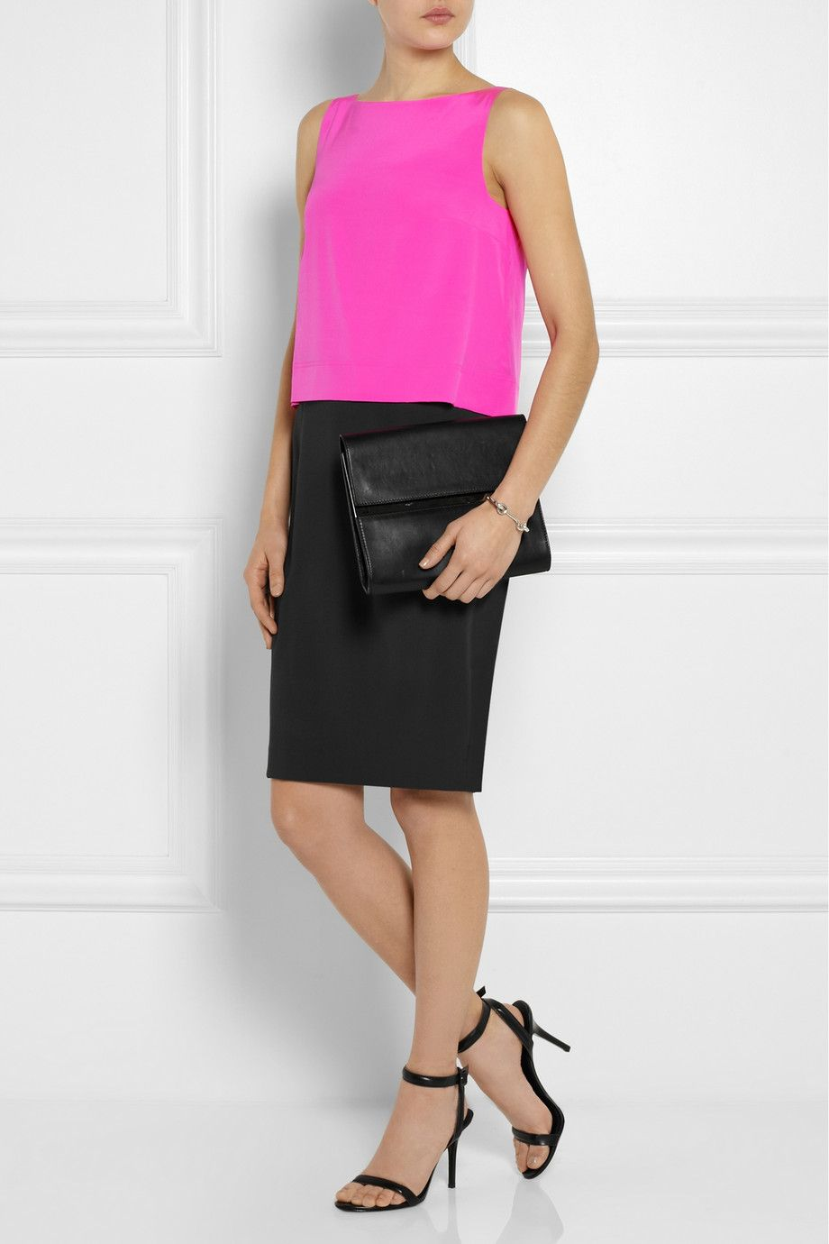 Dkny colorblock stretchsilk and crepe dress neta