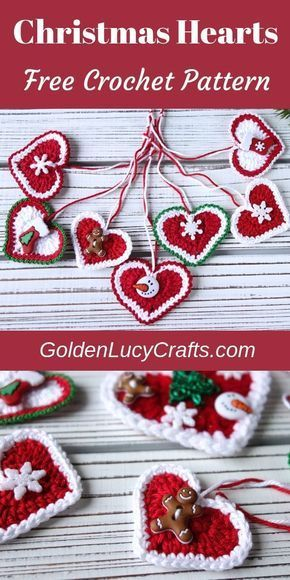 Crochet Christmas hearts - Christmas ornaments! DIY ornament, Christmas decoration, crochet for Christmas, #christmascrochet, #christmasornaments, crochet projects for the home decor, holiday crochet, crochet Christmas ornaments pattern free, crochet Christmas patterns free, Christmas crafts, #christmasornaments, #crochetchristmas, #crochetpatterns, #diychristmas