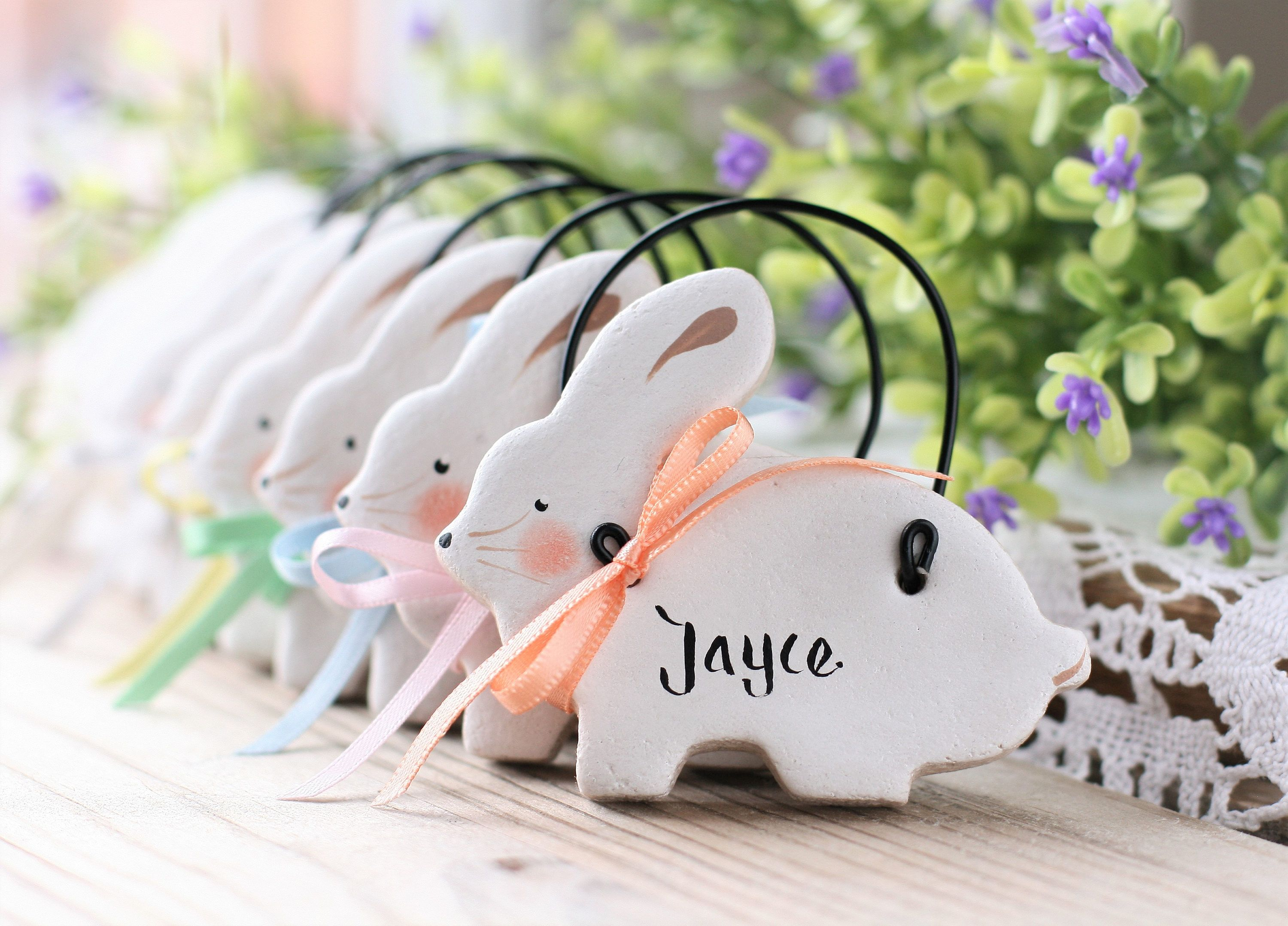 Personalised bunny decorations nursery decor new baby gift personalised bunny decorations nursery decor new baby gift christeningbaptism favors baby shower personalized easter family gifts negle Images