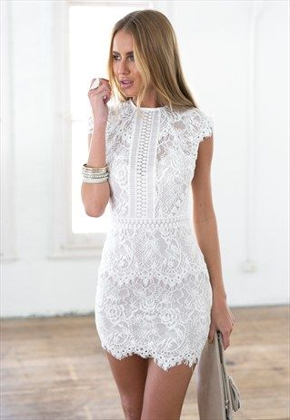 bf63d75d731a CAPSLEEVE WHITE LACE MINI DRESS - JESSICA 2.0 DRESS | Fashion in ...