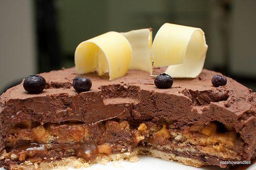 Birthday Cakes Zumbo ~ Chocolate mousse cake. it has layers of apple tatin salted caramel