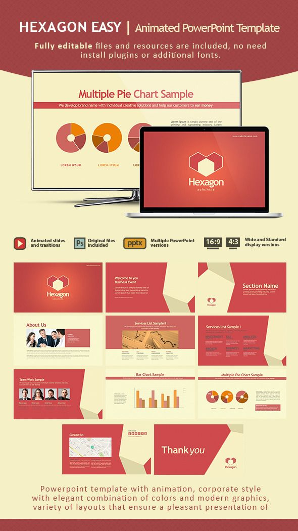 hexagon easy animated powerpoint template powerpoint templates