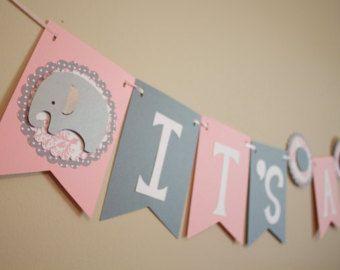 Baby Shower Elefante Rosado ~ Elefante bebé ducha bandera es una niña por calladoopartyshop baby