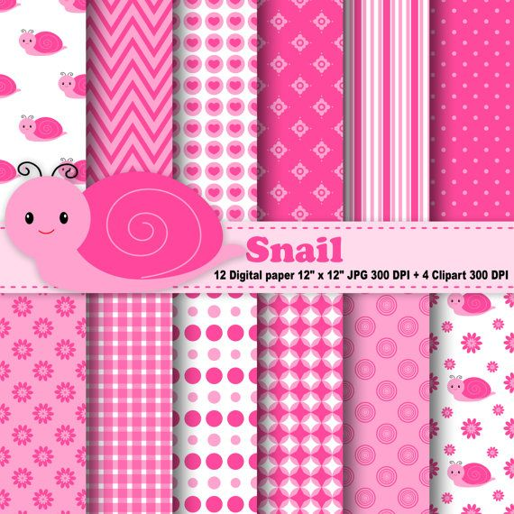 Snail Digital Paper, Snail Clipart, Flowers, Polka Dot, Chevron, Stripe, Pink, Hearts, Pattern, Clipart, Commercial Use, Instant Download