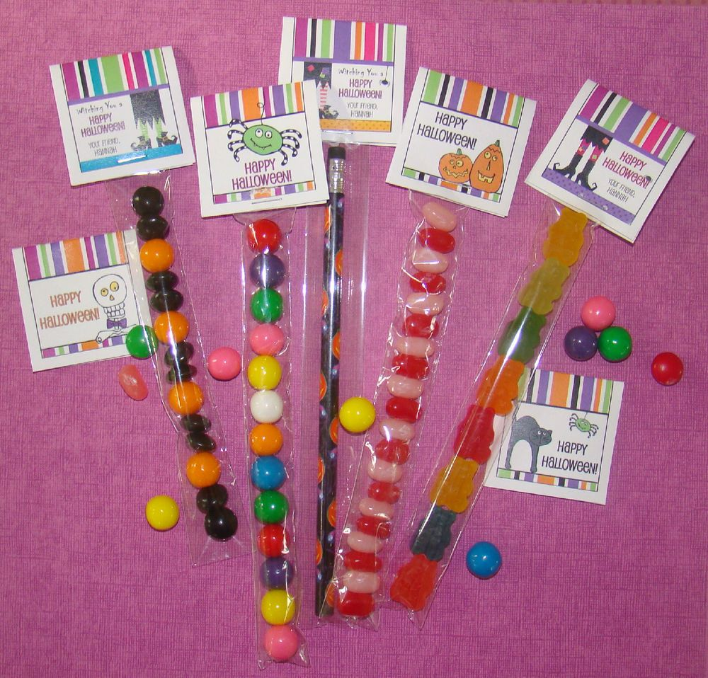 30 Halloween Candy SLEEVE & TOPPER Cellophane Goodie Bag