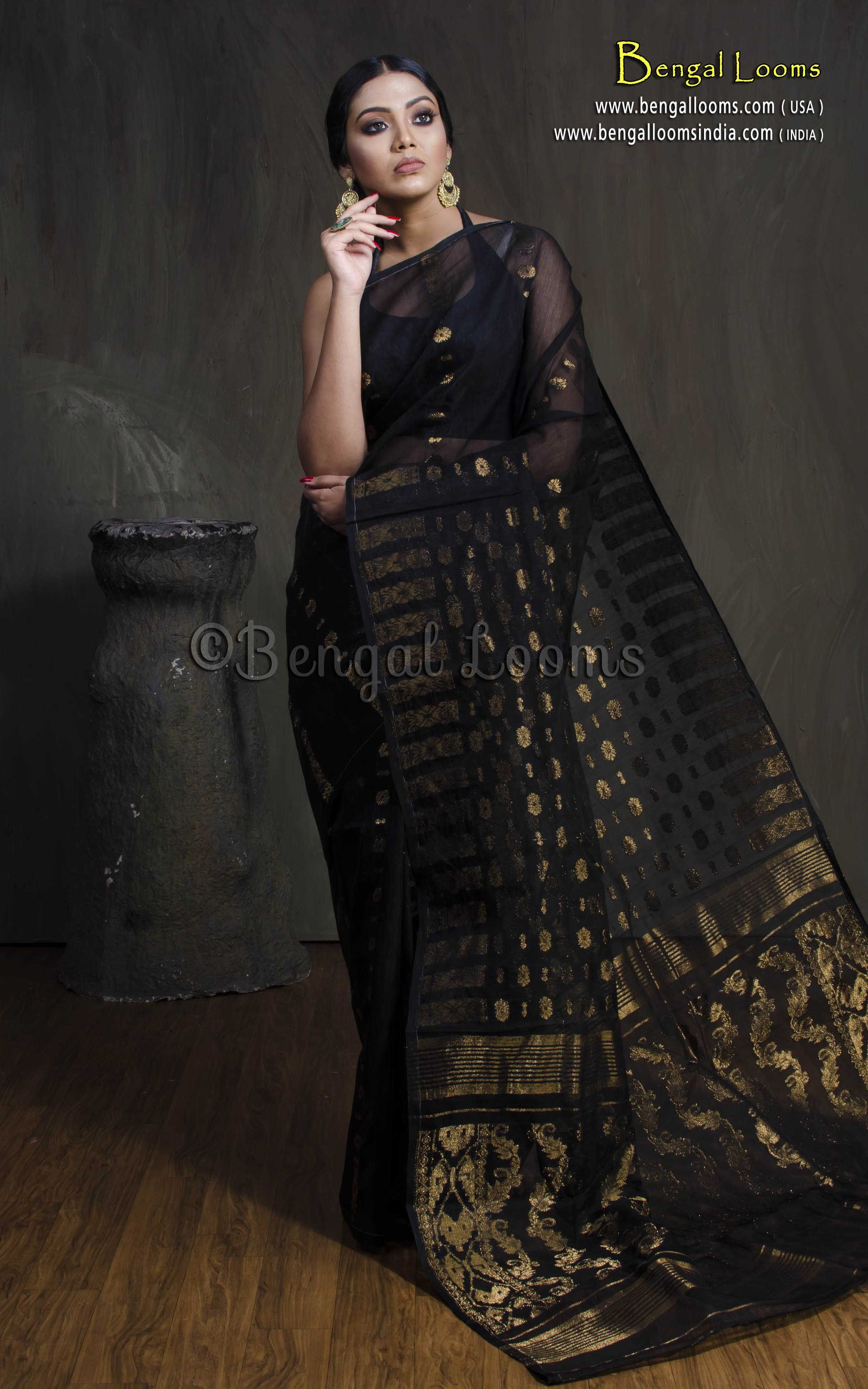 2fa1c2e4a Dhakai Jamdani Saree in Black and Antique Gold | The Authentic ...