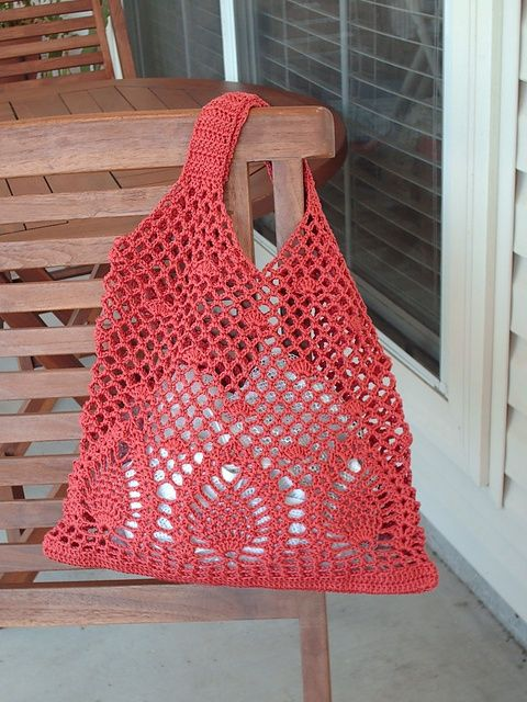 Pineapple Bag: free crochet pattern [   Pineapple Bag: free crochet pattern on ravelry* ༺✿ƬⱤღ…,   Pineapple Bag: free crochet pattern This would make a great shopping bag or a purse. Love the color and the pattern.,   Pineapple Bag pattern by Sachiko Hazama (羽間幸子),    Can use these stitches for a summer tunic,    I like this design! ] # # #Crocheted #Purses, # #Crocheted #Bags, # #Japanese #Crochet #Patterns, # #Summer #Tunics, # #Crochet #Handbags, # #... #crochethandbags