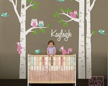 Birch Trees Wall Decal For Nursery Birch Trees And Personalized