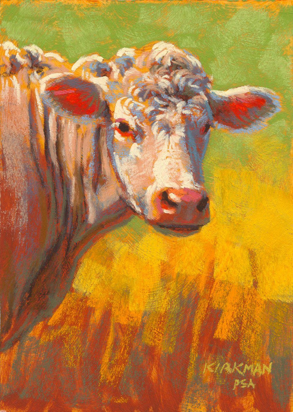 """""""Snow"""" (pastel, 7x5 inches)  cow miniature portrait painting"""